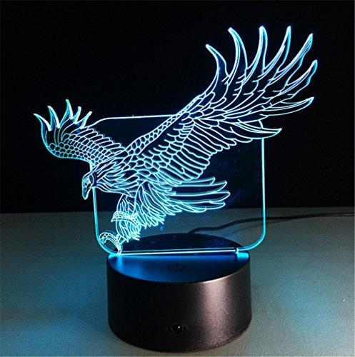 Eagle Tabelle (H&M Kreativ Eagle-Schreibtischlampe 3d 7 Farben ändern Noten-Schalter Fernbedienung Tabelle LED-Licht-Nachtbeleuchtung Hauptdekoration Haushaltszubehör)