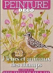 Fleurs et animaux des champs. Peinture déco.