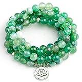 XBSZK Pulsera Raya Verde Natural Onyx Piedra Abalorios con Lotus Buddha Charm Colgante Pulsera Boho 108 Mujeres Collar joyería
