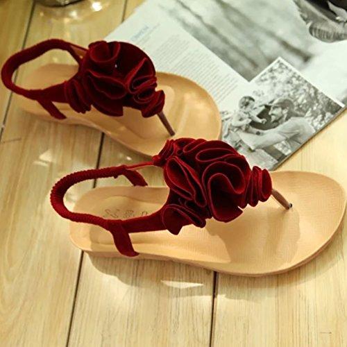 YOUJIA Thong Sandalen Damen Klippzehesandelholze Flache Sandalen Schuh Strand Sandelholz Schuhe Rot