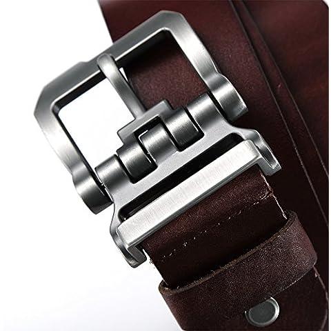 Teemzone Jeans Cintura Pelle Uomo Rosso Marrone 37mm Occasionale Cinture Nero Marrone