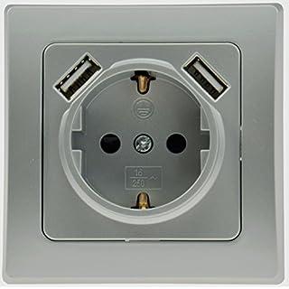 ChiliTec USB Steckdose 2-Fach Delphi UP Schutzkontakt-Steckdose Silber 2X USB 5V / 1A 230V Ladedose