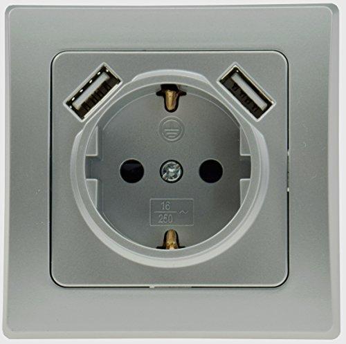ChiliTec USB 2enchufes Delphi Up protección de Contacto de Enchufe Plata 2X...