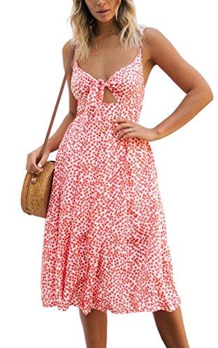 ECOWISH Damen V Ausschnitt A-Linie Kleid Träger Rückenfreies Kleider Sommerkleider Strandkleider Knielang Rosa_Blumen S -