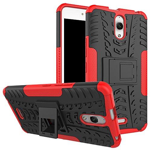 Sunrive Für Alcatel Onetouch Pixi 4 8050D (3G) 6.0 Zoll, Hülle Tasche Schutzhülle Etui Case Cover Hybride Silikon Stoßfest Handyhülle Zwei-Schichte Armor Design schlagfesten Ständer Slim Fall(rot)