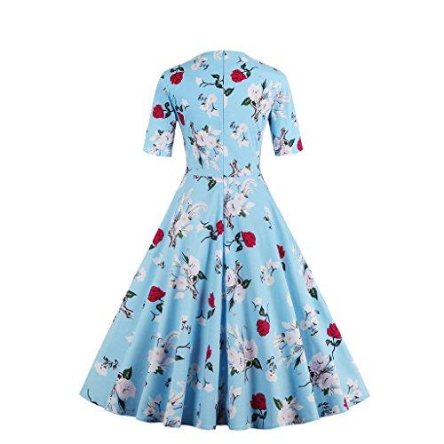 IMUYI Vintage 50 's Style Audrey Hepburn Rockabilly Swing, Robe de soirée cocktail Bleu