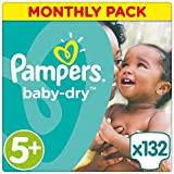 Pampers Baby-Dry Nappies Monthly Saving Pack - Size 5+, Pack of 132