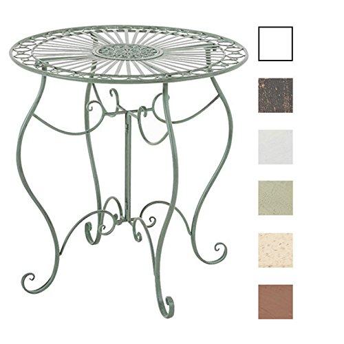 CLP Table de Jardin Ronde INDRA avec Diamètre Ø 70 cm | Table en Fer Forgé Pour Usage Extérieur au Jardin, sur la Terrasse ou au Balcon | Piètement Galbé en Métal, Couleur au Choix: vert antique