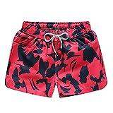 iYmitz Badehose Damen Shorts schnell trocken Strand Surfen Laufen Schwimmen Wasser Hosen Sweatpants Trainingshose Sporthose(rot,EU-48/CN-2XL)