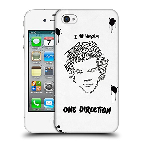 Head Case Designs Offizielle One Direction Harry Weiss BG Text Illustration Faces Harte Rueckseiten Huelle kompatibel mit iPhone 4 / iPhone 4S