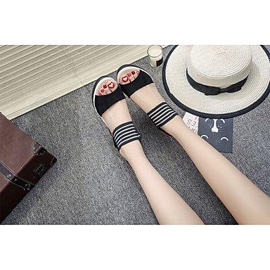 LvYuan Da donna Sandali Comoda Cashmere Estate Casual Footing Comoda Fibbia Zeppa Nero Giallo Marrone 7,5 - 9,5 cm Black
