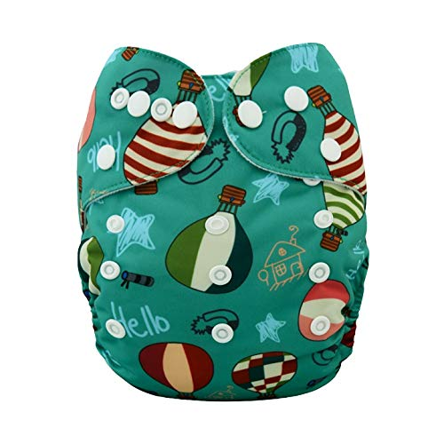 Alvababy Alva Baby Aio Cloth Diaper for Babies (with 4-Layer Premium Bamboo Insert),Washable Reusable All in One Cloth Diapers (Green Parachute)