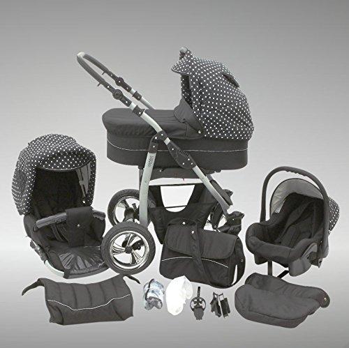 Chilly Kids Dino Kinderwagen Sommer-Set (Sonnenschirm, Autositz & Adapter, Regenschutz, Moskitonetz, Getränkehalter, Schwenkräder) 46 Schwarz & Weiße Punkte