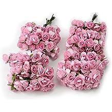 Kanggest 144pc Hermosa Mini Papel Artificial Flores de Rosa para la Decoración de la Tarjeta de