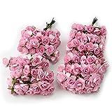 Kanggest 144pc Hermosa Mini Papel Artificial Flores de Rosa para la Decoración de la Tarjeta de Boda Decoración del Hogar Artesanía DIY - Rosado