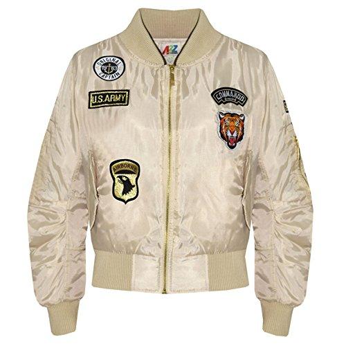 A2Z 4 Kids Enfants Filles Garçons Badges Imprimer - MA1 Jacket Badges. Stone 7-8