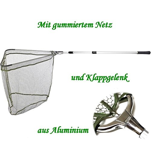 Kescher - Unterfangkescher Alu / Balzer 2,55m 3-tlg 75 x 75cm Netz gummiert