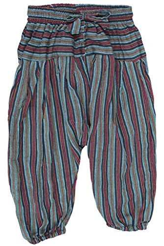 Shopoholic FASHION KINDER HIPPIE HAREM Locker Boho Hose Hippy bunt Kinder Retro Bequem Hose - Grün, 3X-Large