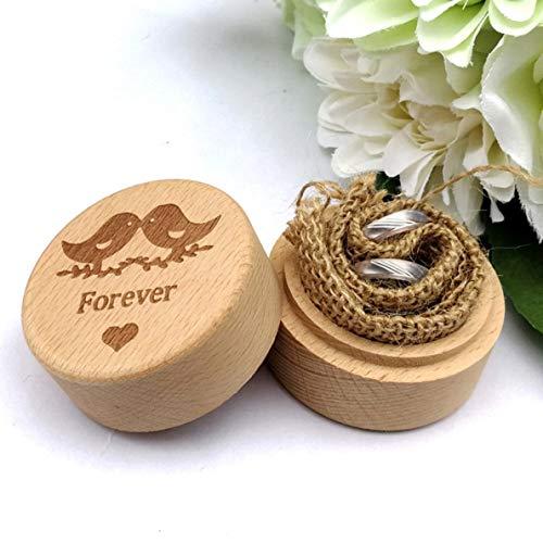 Chungeng, elegante scatola in legno per fedi nuziali con incisione personalizzata, stile rustico, per donne e ragazze e nessuno, colore: jm01519, cod. #uhn:q30459
