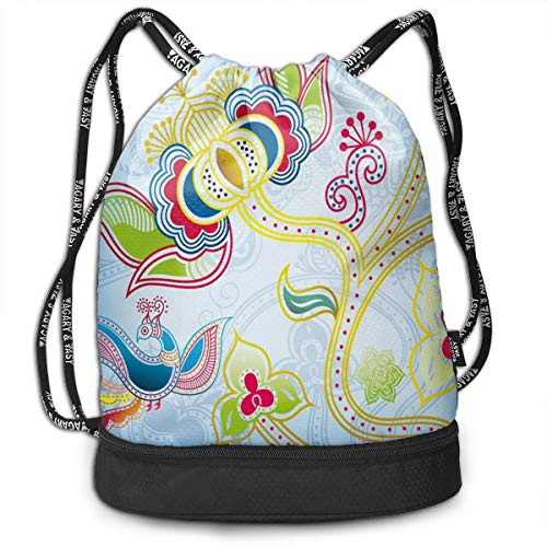 LULABE Printed Drawstring Backpacks Bags,Colorful Floral Far Eastern Art Motifs Swirled Lines Dots and Phoenix Bird Figure,Adjustable String Closure Floral Swiss Dot