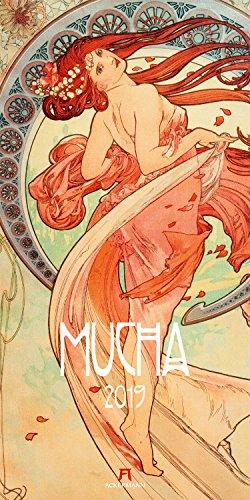 Alfons Mucha 2019, Wandkalender im Hochformat (33x66 cm) - Kunstkalender (Jugendstil) mit Monatskalendarium