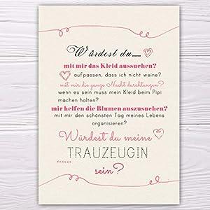 """A6 Postkarte """"Willst du meine Trauzeugin sein?"""" in sand/rosa Glanzoptik Papierstärke 235 g / m2 Geschenk für Schwester…"""