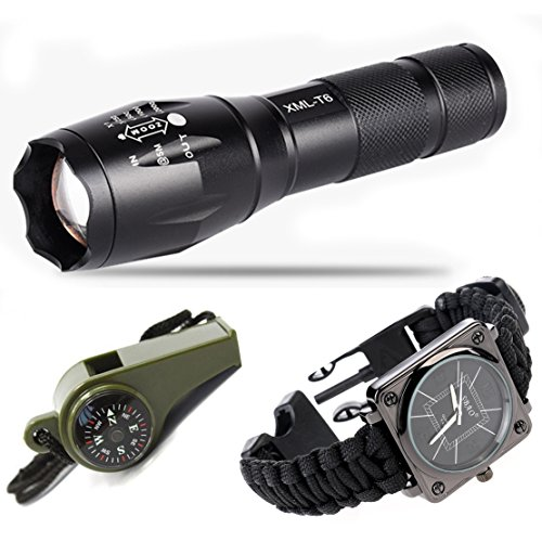 Survival Kit Ultra Bright Flashlight Paracord Bracelet Watch with Compass, Thermometer, Outdoor Survival Whistle Flint for Hiking Camping Mountaineering (Black)