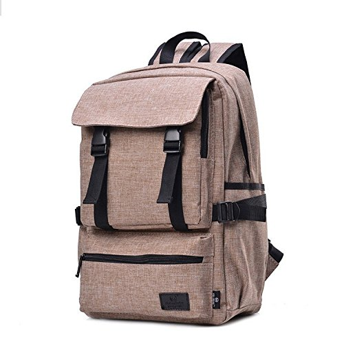 Y775 Good Linen Material 17inch Bag Backpack School Bag Outdoor Mountaineering Bag (khaki)