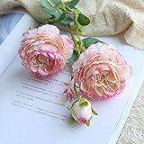 Fleurs Artificielles,Fausse Fleur,Roses artificielles en soie - Avec feuilles - Sensation de toucher réaliste - Bouquet de 3 fleurs - Pour décoration de mariage maison Jardin - DIY floral arrangement