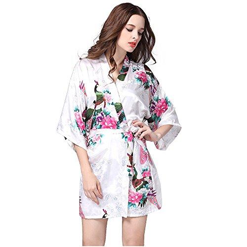 Accappatoi Pigiama Vestaglie Kimono Donna in Raso Con Cintura Corto Camicia da Notte con Cintura Stampa Pavone y Fiore Bianco