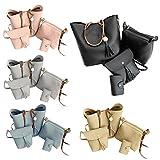 #7: Tomtopp 4pcs/Set Fashion Women Tassel Pure PU Shoulder Bag Clutch Card Bag Handbag