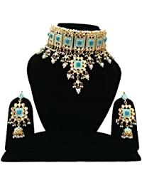 Finekraft Kundan Choker Turquoise Stone Designer Gold Plated Bridal Necklace Set With Earrings For Women