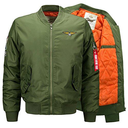 YYZYY Herren Herbst Winter Dick Warm Militär Bomberjacke Air Force Patches Leichte Bomber Jacken Mäntel Mens Light Jacket Coat Parka...