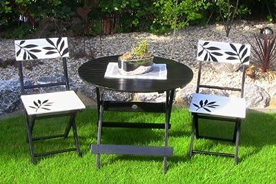 3tlg. LECO Premium Garten Sitzgruppe Tischgruppe Balkon Set Tisch Stuhl Stühle