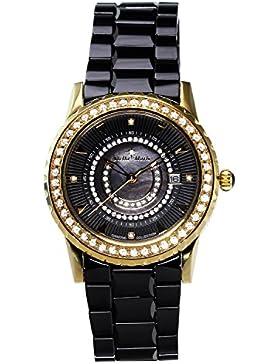 Stella Maris Damen-Armbanduhr Schwarz Analog Quarz Premium Keramik Diamanten - STM15Z6
