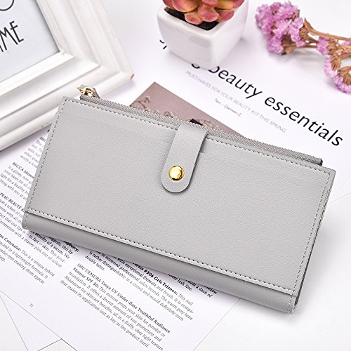 OME&QIUMEI Frauen Lange Geldbörse Multi Funktion Vertikale Stil Reine Farbe Zipper Wallet (19 Cm * 10 Cm * 1,5Cm), Pale (Wallet Vertikale Zipper)