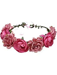 Ssowun Couronne de fleurs Mariage,Fletion Couronne de Fleurs Femme Filles  Bandeaux de Fleurs pour ec7b95ed199