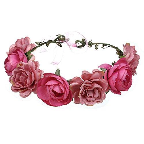 Hochzeit, für Damen, Mädchen, Haarband mit Blumen, für Hochzeit, Party, Reise, Kopfband, Haarreif, Hochzeitszubehör , Rosa ()