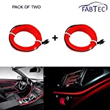 #2: Fabtec Red El Wire 3 Mtr Neon Light LED Without Adapter (Pack Of 2) For Hyundai Verna New
