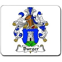 Hamburguesa familia escudo escudo de armas alfombrilla de ratón