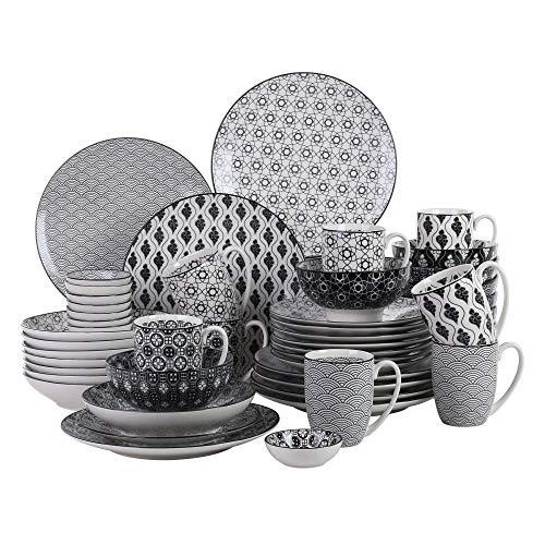 Vancasso haruka, piatti servizio 8 persone set 48 pezzi stile giapponese nero in porcellana con piatti frutta, tazza da tè, piatti piani, piatti fondi ciotole per cereali piattini per aperitivo