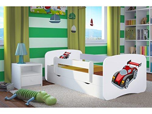 Kocot Kids Kinderbett Jugendbett 70x140 80x160 80x180 Weiß mit Rausfallschutz Matratze Schublade und Lattenrost Kinderbetten für Mädchen und Junge - Rennwagen Motiv 180 cm