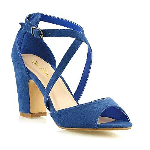 ESSEX GLAM Donna Tacco Basso Sandali Le Signore Azzurro Finto Scamosciato Cinturino alla Caviglia Festa Scarpe EU 38