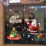 Yuson Girl Weihnachten Aufkleber Fenster Süß Weihnachtsmann Abnehmbare Weihnachten Deko Wandtattoo Weihnachten Statisch Haftende PVC Aufkleber Fensteraufkleber Wandaufkleber Weihnachten