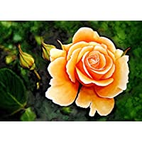 Blumenbild - Gelbe Rose - hangemaltes Unikat