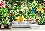 Papiers Peints Muraux Décor À La Maison Personnalisé Sticker Mural Murale Perroquet Forêt Tropicale Papier Peint Végétal Tropical Pour La Chambre Des Enfants, Taille: Environ 200X140 Cm