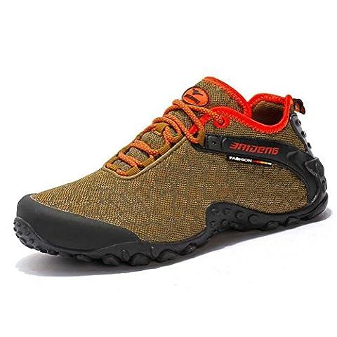 Chaussures de randonnée gonflables pour hommes et femmes été et automne baskets en toile de treillis extérieur pour trekking camping escalade léger et antidérapant , khaki , 42