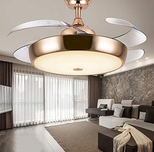 Deckenventilator, unsichtbar, 107 cm, für Wohnzimmer, Schlafzimmer, Esszimmer, Wohnzimmer, LED, unsichtbar, Ventilator mit Fernbedienung Europäischer Stil Größe gold - Antiken Gold-licht-kit