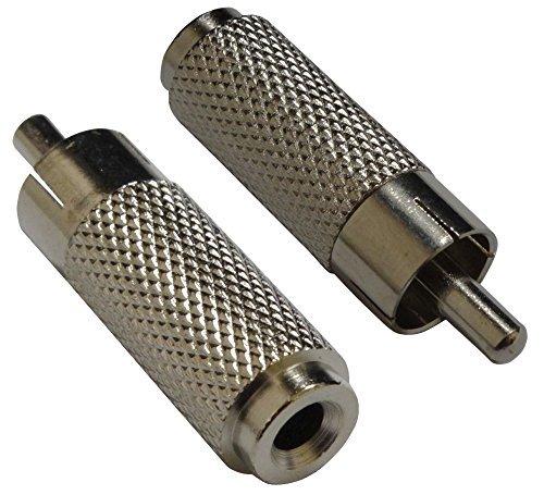 Aerzetix - 2 adattatori convertitori phono connettori audio/video RCA maschio a Jack mono 3,5 mm, in metallo .