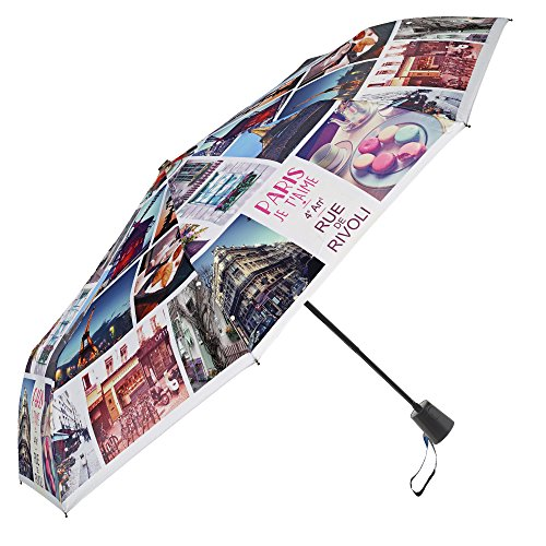 Paraguas automático de Viaje Perletti - Práctico para Llevar en el Bolso o la Mochila - Paraguas Plegable antiviento (Paris)